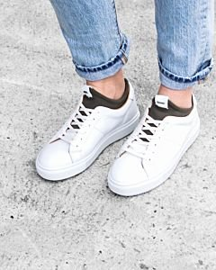 White-sneaker-smooth-leather-with-neoprene-sock-olive
