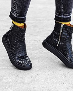 Ankle-boot-croco-printed-leather-Black