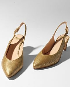 Slingback-pump-shiny-printed-leather-Yellow-