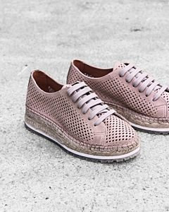 Lace-up-espadrille-perforated-smooth-leather-Beige