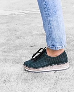 Lace-up-espadrille-perforated-smooth-leather-Green