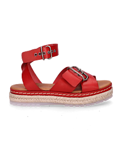 Espadrille-sandal-smooth-leather-red