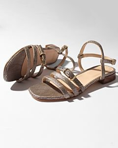 Sandal-shiny-printed-leather-Taupe