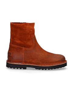 Ankle-boot-waxed-suede-Orange