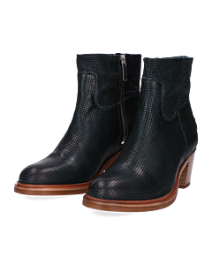 Ankle-boot-smooth-printed-leather-Petrol-Green