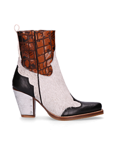 Sisterhood-Western-ankle-boot-Black,-Off-White-&-Orange-
