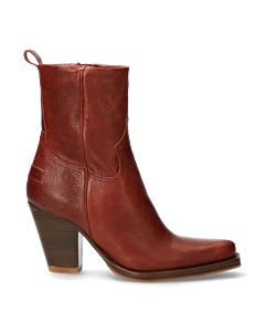 Western-ankle-boot-with-zipper-red-brown