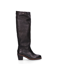 Boot-with-heel-smooth-leather-Black