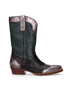 Sisterhood-Western-boot-Silver,-Black-&-Dark-Green-