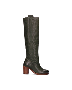 Boot-with-heel-smooth-leather-Green