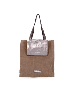 Shopper-suede-with-metallic-grain-leather-Taupe