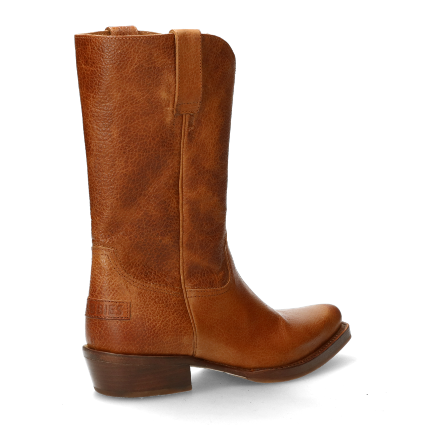 Western boot brown grain leather