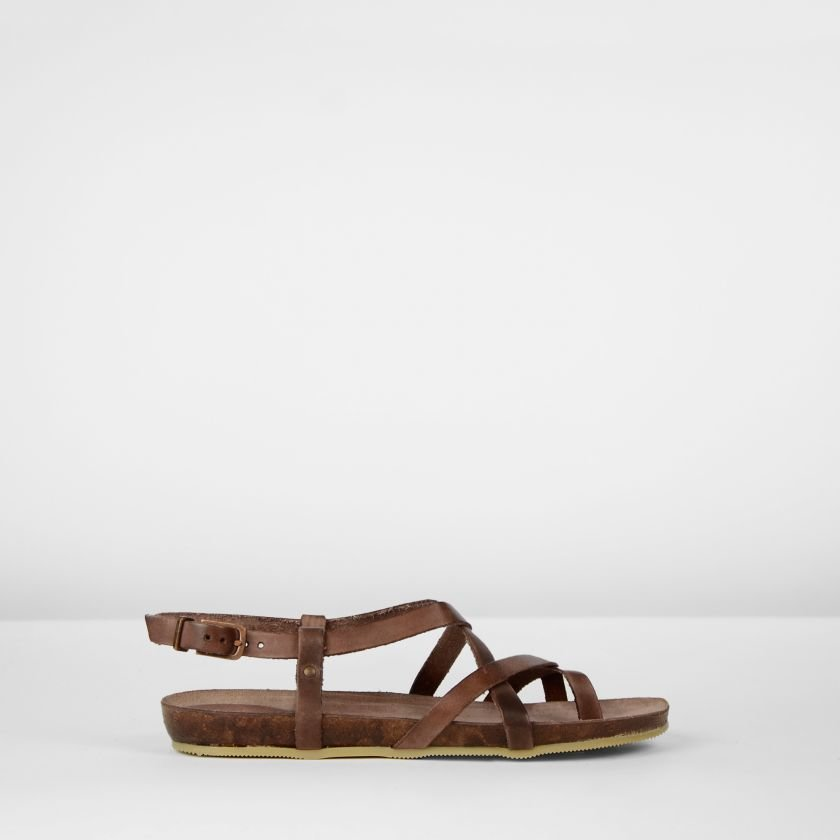 Sandal-natural-dyed-leather-Brown