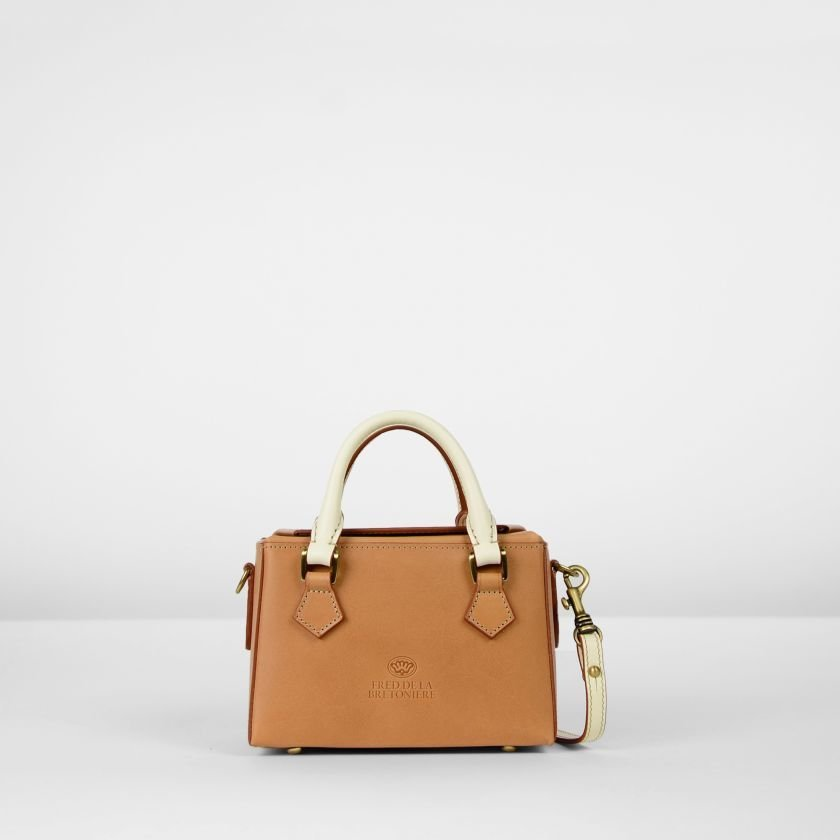 Handbag-natural-dyed-leather-Tan-/-Off-White