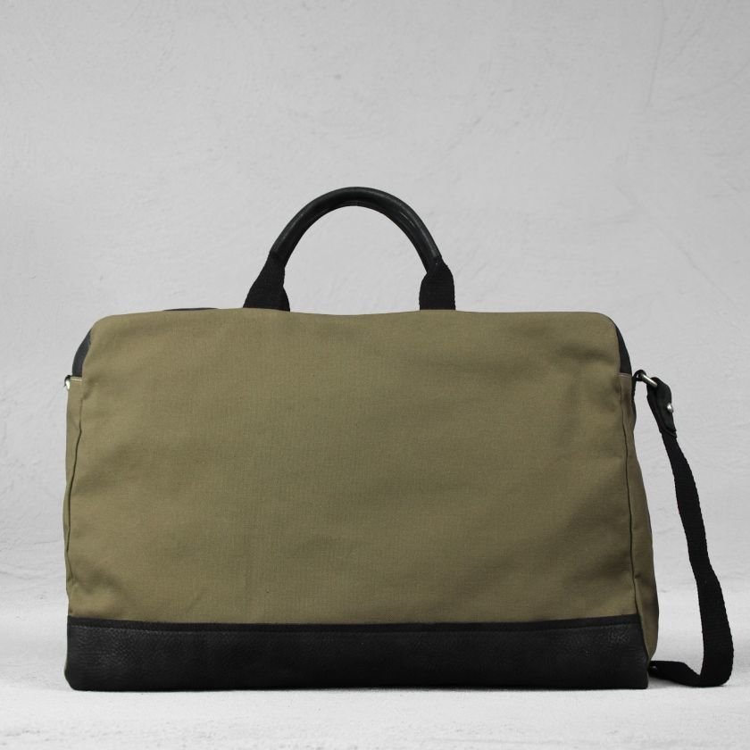HANDBAG-LARGE-WAXED-GRAIN-LEATHER-AND-CANVAS-Black-Olive