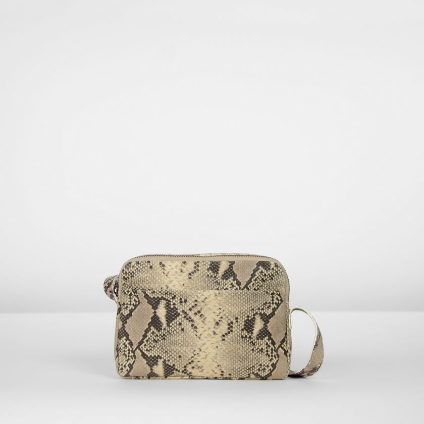 Shoulderbag-snakeprinted-leather-Beige