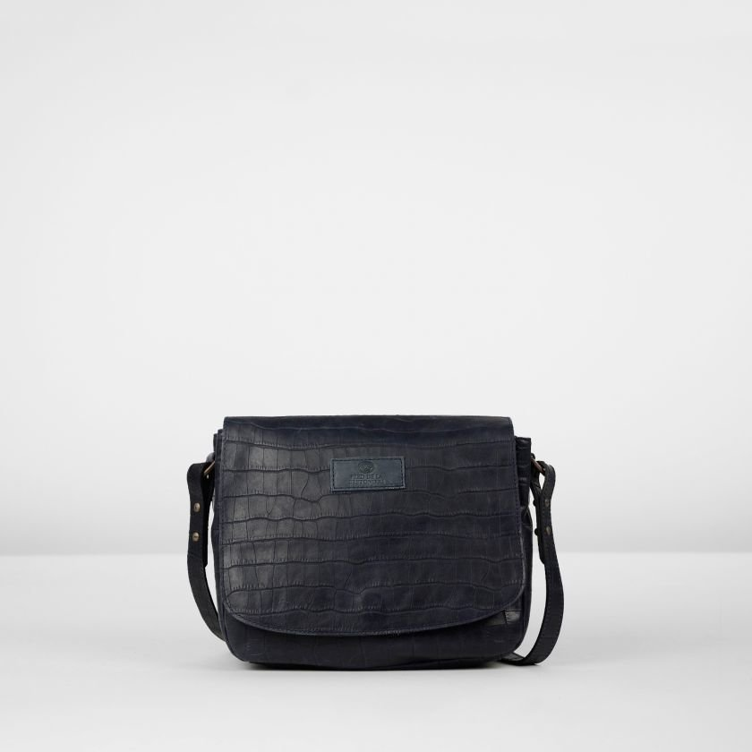 Shoulderbag-croco-printed-leather-Dark-Blue