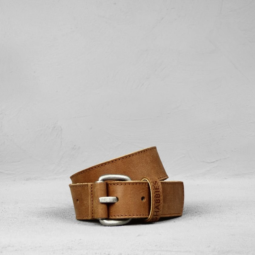 Belt-hand-buffed-leather-Cognac