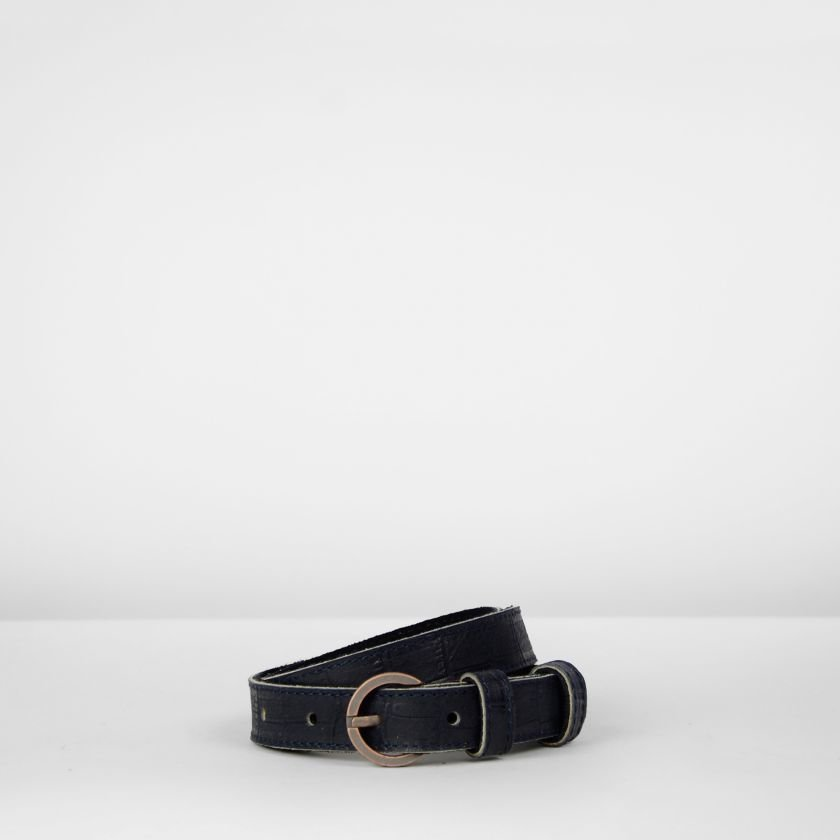 Belt-heavy-printed-leather-Dark-Blue