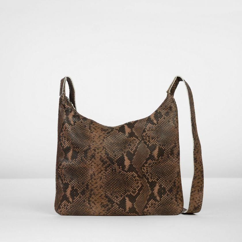 Shoulderbag-snakeprinted-leather-Brown