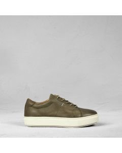 Sneaker waxed grain leather Olive Green