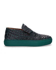 Loafer-croco-printed-leather-Green