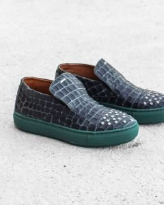 Loafer-geprint-leer-groen