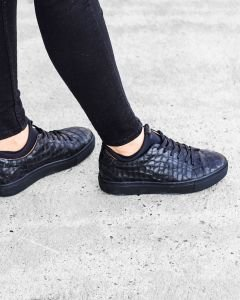 Sneaker-croco-printed-leather-Black