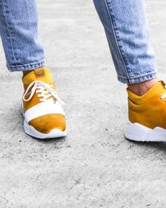 Sneaker-smooth-leather-with-neoprene-sock-Yellow