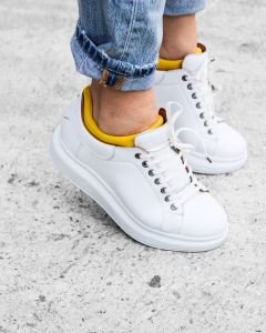 White-lace-up-sneaker-smooth-leather-with-neoprene-sock-yellow