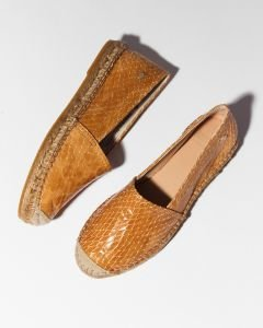 Espadrille-shiny-printed-leather-brown-