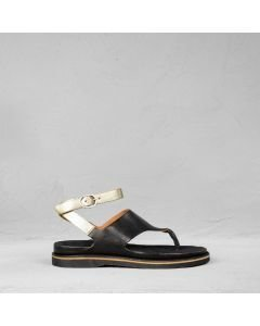 Sandal-smooth-leather-black-silver