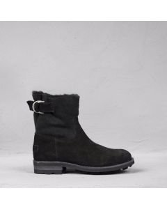 Ankle boot waxed suede Black
