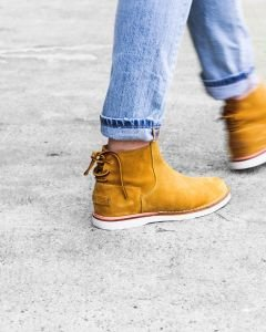 Ankle-boot-suede-with-lace-at-the-back-Yellow
