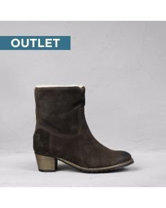 Ankle boot waxed suede Dark Brown