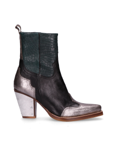 Sisterhood-Western-ankle-boot-Silver,-Black-&-Dark-Green