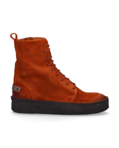 Ankle-boot-with-lace-up-low-waxed-suede-Orange