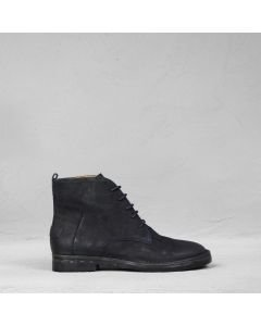 Ankle boot with laces waxed suede Dark Blue