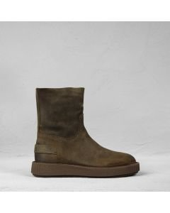 Ankle boot waxed suede Dark Olive