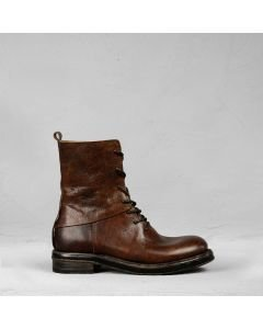 Ankle boot with laces polished leather Brown