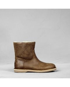 Ankle boot hand buffed leather Brown