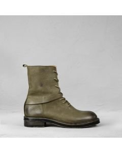 Ankle boot with laces waxed grain leather Olive Brown