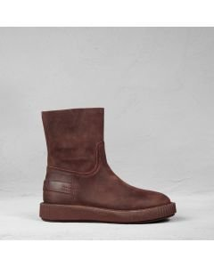 Ankle boot waxed suede Red