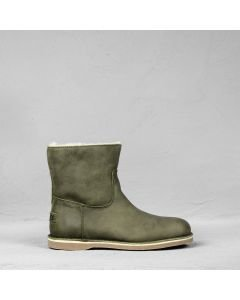 Ankle boot hand buffed leather Olive