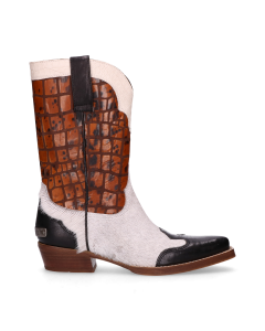 Sisterhood-Western-boot-Black,-Off-White-&-Orange-