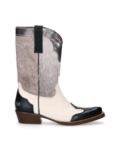 Sisterhood-Western-boot-Black,-Off-White-&-Silver