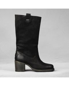 Westernboot waxed suede Black