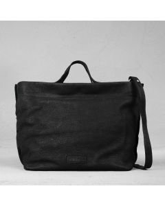 Handbag waxed grain leather Black