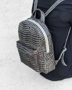 Backpack-croco-printed-leather-Grey