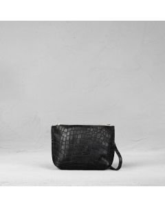 Cross body small printed leather Black